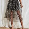 Sheer Embroidery Mesh Skirt