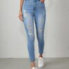 Shein EMERY ROSE Light Wash Ripped Skinny Jeans