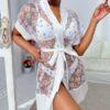 Shein Floral Print Belted Sheer Night Robe