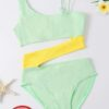 Shein Girls Color Block Rib Cut-out One Piece Swimsuit