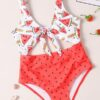 Shein Girls Watermelon Print Cut-out Knot One Piece Swimsuit