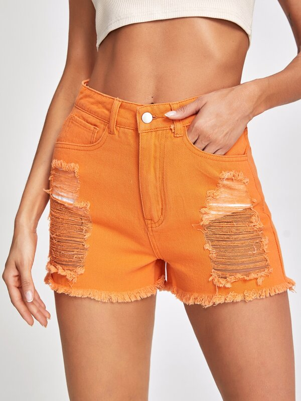 Shein High Waist Ripped Raw Hem Denim Shorts