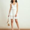 Shein High Waist Self Belted Layered Hem Cami Dress