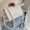 Shein Letter Graphic Faux Pearl Strap Crossbody Bag