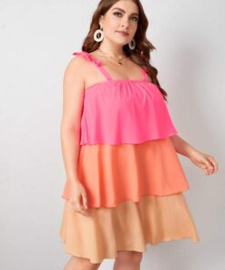 Shein Plus Bow Strap Color Block Layered Dress