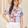 Shein Plus Floral Print Blouse