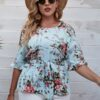 Shein Plus Floral Print Flounce Sleeve Belted Blouse