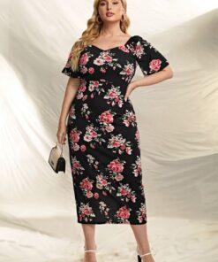 Shein Plus Floral Print Split Back Dress