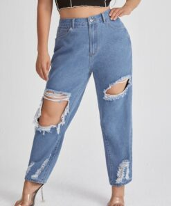 Shein Plus High Waisted Ripped Jeans