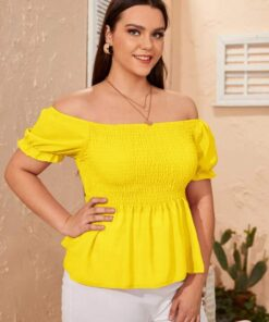 Shein Plus Off The Shoulder Shirred Blouse