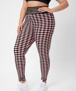 Shein Plus Striped & Geo Print Sports Leggings
