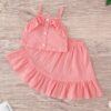 Shein Toddler Girls Ruffle Trim Button Front Cami Top With Skirt