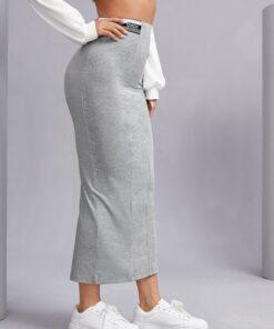 Letter Graphic Split Back Pencil Skirt