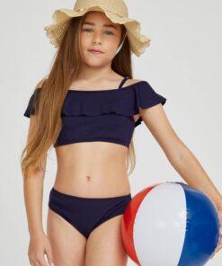 SHEIN BASICS Girls Ruffle Bikini Swimsuit