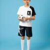 SHEIN Boys Figure Graphic Two Tone Tee & Shorts Set