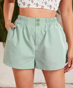 SHEIN Button Fly Solid Wide Leg Shorts