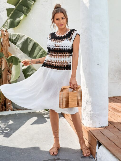 SHEIN Color Block Crochet Cover Up
