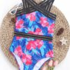 SHEIN Floral Contrast Mesh One Piece Swimsuit