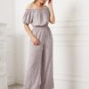 SHEIN Frill Off Shoulder Puff Sleeve Wide Leg Ditsy Floral Jumpsuit