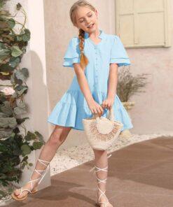 SHEIN Girls Layered Sleeve Ruffle Hem Dress