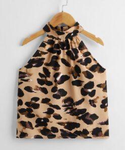 SHEIN Girls Zipper Back Leopard Halter Top