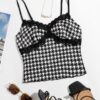 SHEIN Lace Trim Houndstooth Cami Top