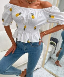 SHEIN Pineapple Embroidered Bardot Blouse