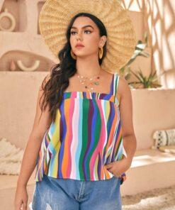 SHEIN Plus Colorful Stripe Cami Top