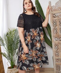 SHEIN Plus Guipure Lace Overlay Bodice Tropical Dress