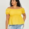 SHEIN Plus Off The Shoulder Shirred Peplum Blouse
