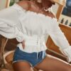 SHEIN Solid Frill Trim Off The Shoulder Lace Up Belted Blouse