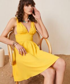 SHEIN Solid Plunging Neck Dress