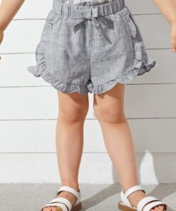 SHEIN Toddler Girls Bow Front Frill Trim Shorts