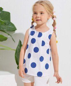 SHEIN Toddler Girls Fold Pleat Polka Dot Top