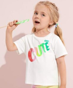 SHEIN Toddler Girls Letter Graphic Top