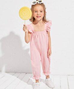 SHEIN Toddler Girls Ruffle Trim Pinafore Jumpsuit