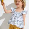 SHEIN Toddler Girls Ruffle Trim Polka Dot Top