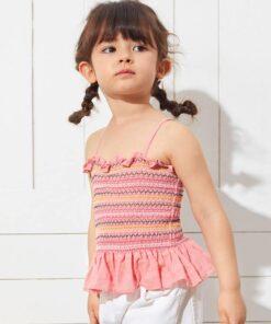 SHEIN Toddler Girls Ruffle Trim Shirred Cami Top