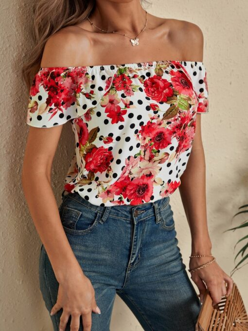SHEIN Floral And Polka Dot Off The Shoulder Blouse
