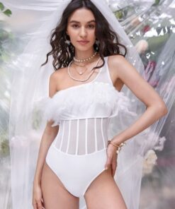 Shein Appliques Contrast Mesh One Shoulder One Piece Swimsuit
