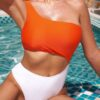 Shein Color Block One Shoulder One Piece Swimsuit