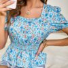 Shein Ditsy Floral Shirred Peplum Blouse