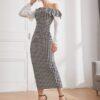 Shein Gingham Print Asymmetrical Neck Ruffle Trim Fitted Dress