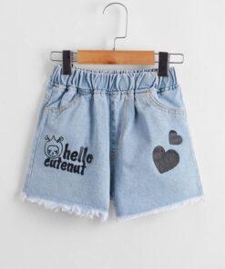 Shein Girls Heart And Letter Graphic Raw Hem Denim Shorts