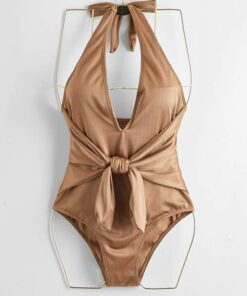 Shein Knot Front Plunging One Piece Swimsuit
