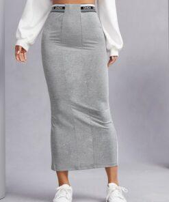 Shein Letter Graphic Split Back Pencil Skirt