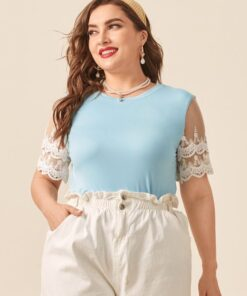 Shein Plus Contrast Lace Sleeve Tee