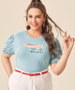 Shein Plus Letter Graphic Puff Sleeve Tee
