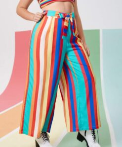 Shein Plus Rainbow Striped Belted Wide Leg Pants