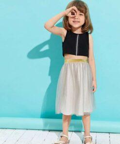 Shein Toddler Girls Zip Detail Tank Top & Mesh Skirt
